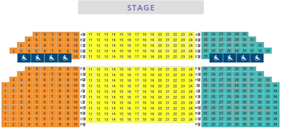 STAGE.      5, 6, 7, 8, 9, 10, A열, 11, 12, 13, 14, 15, 16, 17, 18, 19, 20, 21, 22, 23, 24, A열, 25, 26, 27, 28, 29, 30.     4, 5, 6, 7, 8, 9, 10, B열, 11, 12, 13, 14, 15, 16, 17, 18, 19, 20, 21, 22, 23, 24, B열, 25, 26, 27, 28, 29, 30, 31.     3, 4, 5, 6, 7, 8, 9, 10, C열, 11, 12, 13, 14, 15, 16, 17, 18, 19, 20, 21, 22, 23, 24, C열, 25, 26, 27, 28, 29, 30, 31, 32.     2, 3, 4, 5, 6, 7, 8, 9, 10, D열, 11, 12, 13, 14, 15, 16, 17, 18, 19, 20, 21, 22, 23, 24, D열, 25, 26, 27, 28, 29, 30, 31, 32, 33.     장애인석, 장애인석, 장애인석, 장애인석, 10, E열, 11, 12, 13, 14, 15, 16, 17, 18, 19, 20, 21, 22, 23, 24, E열, 25, 장애인석, 장애인석, 장애인석, 장애인석.     4, 5, 6, 7, 8, 9, 10, F열, 11, 12, 13, 14, 15, 16, 17, 18, 19, 20, 21, 22, 23, 24, F열, 25, 26, 27, 28, 29, 30, 31.     3, 4, 5, 6, 7, 8, 9, 10, G열, 11, 12, 13, 14, 15, 16, 17, 18, 19, 20, 21, 22, 23, 24, G열, 25, 26, 27, 28, 29, 30, 31, 32.     2, 3, 4, 5, 6, 7, 8, 9, 10, H열, 11, 12, 13, 14, 15, 16, 17, 18, 19, 20, 21, 22, 23, 24, H열, 25, 26, 27, 28, 29, 30, 31, 32, 33.     1, 2, 3, 4, 5, 6, 7, 8, 9, 10, I열, 11, 12, 13, 14, 15, 16, 17, 18, 19, 20, 21, 22, 23, 24, I열, 25, 26, 27, 28, 29, 30, 31, 32, 33, 34.     1, 2, 3, 4, 5, 6, 7, 8, 9, 10, J열, 11, 12, 13, 14, 15, 16, 17, 18, 19, 20, 21, 22, 23, 24, J열, 25, 26, 27, 28, 29, 30, 31, 32, 33, 34.     1, 2, 3, 4, 5, 6, 7, 8, 9, 10, K열, 11, 12, 13, 14, 15, 16, 17, 18, 19, 20, 21, 22, 23, 24, K열, 25, 26, 27, 28, 29, 30, 31, 32, 33, 34.     1, 2, 3, 4, 5, 6, 7, 8, 9, 10, L열, 11, 12, 13, 14, 15, 16, 17, 18, 19, 20, 21, 22, 23, 24, L열, 25, 26, 27, 28, 29, 30, 31, 32, 33, 34.     1, 2, 3, 4, 5, 6, 7, 8, 9, 10, M열, 11, 12, 13, 14, 15, 16, 17, 18, 19, 20, 21, 22, 23, 24, M열, 25, 26, 27, 28, 29, 30, 31, 32, 33, 34.     1, 2, 3, 4, 5, 6, 7, 8, 9, 10, N열, 11, 12, 13, 14, 15, 16, 17, 18, 19, 20, 21, 22, 23, 24, N열, 25, 26, 27, 28, 29, 30, 31, 32, 33, 34.     1, 2, 3, 4, 5, 6, 7, 8, 9, 10, O열, 11, 12, 13, 14, 15, 16, 17, 18, 19, 20, 21, 22, 23, 24, O열, 25, 26, 27, 28, 29, 30, 31, 32, 33, 34.     1, 2, 3, 4, 5, 6, 7, 8, 9, 10, P열, P열, 25, 26, 27, 28, 29, 30, 31, 32, 33, 34.